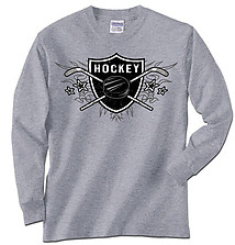 Long Sleeve Hockey T-Shirt: Hockey Sheild