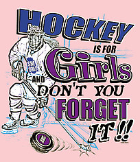 Hockey T-Shirt: Hockey Is For Girls-Pink