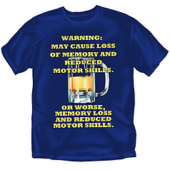 Coed Sportswear Drinking T-Shirt: Warning Memory Loss