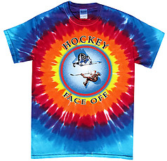 Pure Sport Hockey T-Shirt: Face Off Sunburst- Tie Dye