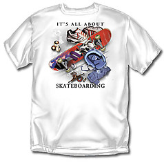 Coed Sportswear Skateboarding T-Shirt: All About Skateboarding