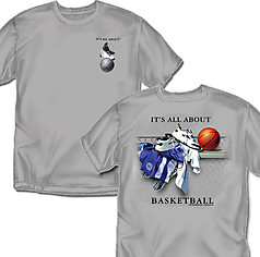 Coed Sportswear Basketball T-Shirt: It's All About Basketball - Grey