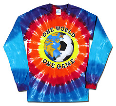 Pure Sport Long Sleeve Soccer T-Shirt: One World Soccer Tie Dye (SunBurst)