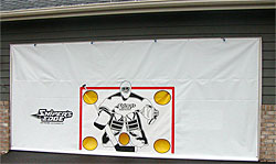 Garage Door Hockey Shooting Target installed in garage door opening
