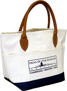 Custom Leather Handle Tote Bag with Water-Resistant Bottom