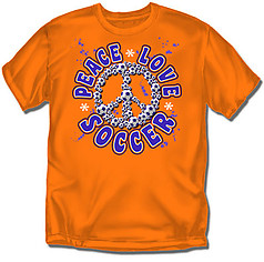 Coed Sportswear Youth Soccer T-Shirt: Peace Love Soccer