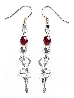 Ballerina Dance Earrings Team Colors Maroon Silver