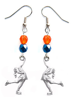 Skater Figure Skating Earrings Team Colors Orange Navy Blue