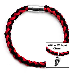 Braided Faux Suede Running, Cross Country & Track Unisex Bracelet (Team Colors Red & Black)